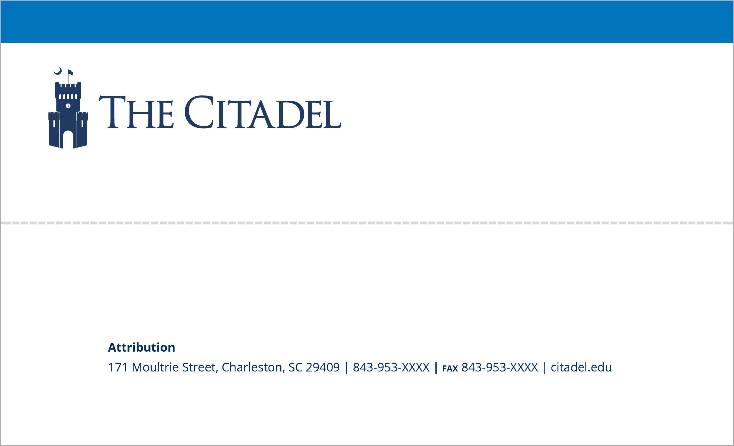 Citadel letterhead template example